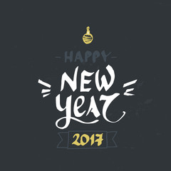 Hand drawn Happy hew year lettering. Perfect Xmas design for greeting cards and invitations.