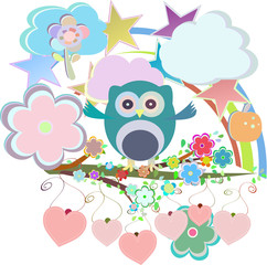 ?artoon set owls, birds, flowers, sky, cloud