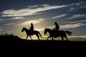 Cowboy silhoutte at sunset