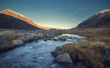 Crystal Clear Creek among Glyderau Mountains in North Wales