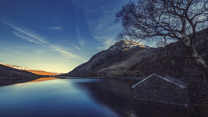 Scenic View over Llyn Ogwen Lake in Snowdonia, North Wales