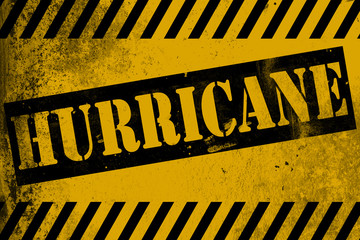 Hurricane sign yellow with stripes
