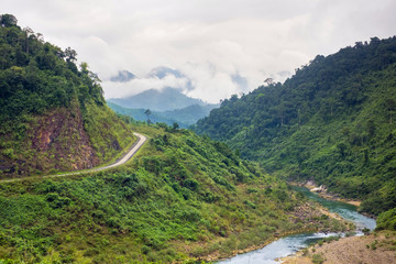 Ho Chi Minh Highway West passing through jungle landscape, Quang Ninh District, Quang Binh Province, Vietnam, Indochina, Southeast Asia, Asia