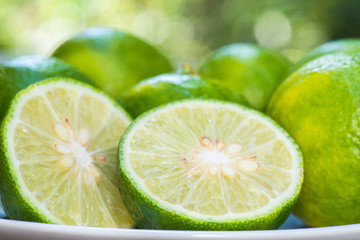 Closeup lime slice on white plate  with green nature blur background