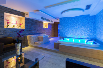 Jacuzzi bath in hotel spa center