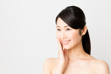 attractive asian woman skincare image isolated on white background
