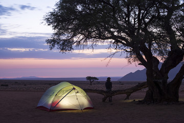 Camped on the edge of the Namib Desert at the Namtib Desert Lodge, Namibia, Africa