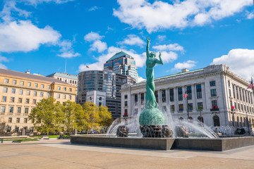 Downtown Cleveland skyline and Fountain of Eternal Life Statue