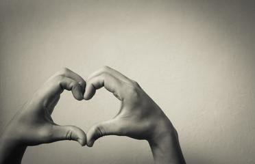 Hand shaped heart in studio.