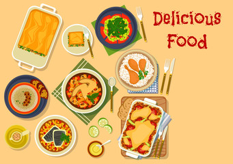 Dinner dishes icon for restaurant menu design