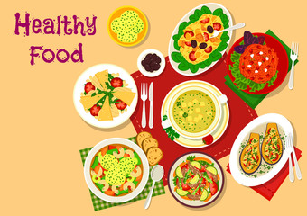 Healthy salad and soup lunch dishes icon