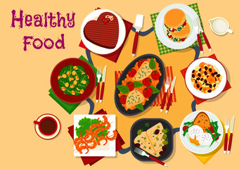 Healthy breakfast dishes icon for festive menu