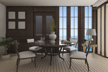 3d rendering luxury dining room with classic furniture with sea view