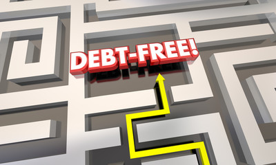 Debt Free Maze Budget Pay Off Credit Cards 3d Illustration