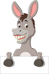 Cartoon funny donkey holding blank sign