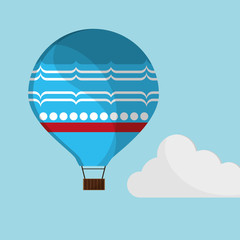 blue airballoon flying sky cloud with shadow vector illustration eps 10