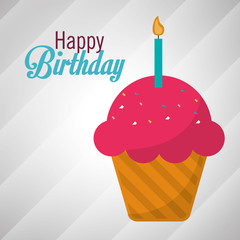 happy birthday pink cupcake candle vector illustration eps 10