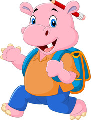 Cute hippo with backpack