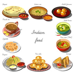 Indian cousine set. Collection of food dishes