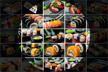 Collage picture of sushi set in Japanese dish with shoyu Sauce a