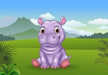 Cartoon funny baby hippo sitting