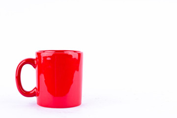red coffee or tea cup on white background drink isolated