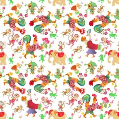 Seamless pattern with cute cartoon animals. Swan, cock, duck, monkey, dragon, Sirin bird, alligator, cat, kitten, birds, elephant, butterflies, peacock on white background. Year of the rooster.
