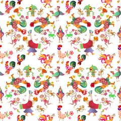 Seamless background with cute cartoon animals. Fairy roosters, duck, cat and kitten, chicken, monkey, alligator, birds and dragon on dark backdrop. Chinese year of the cock. Packaging.