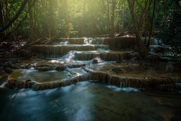 Waterfall hauy mae kamin water falls in deep forest Kanchanaburi western of Thailand