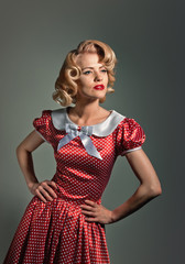 Beautiful young retro pinup blonde