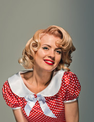 smiling retro pinup coquettish girl