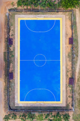 Top view aerial photo from flying drone over football field