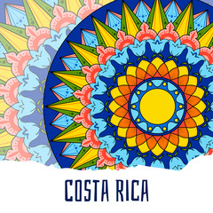 Costa Rica illustration vector. Decorated coffee carreta ornament wheel design for tourist symbols, card, banner or flyer.