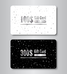 Gift card silver template with glowing confetti shapes. Shopping glittering premium certificate.