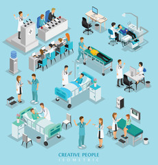 isometric people character on hospital include doctor, nurse, ma