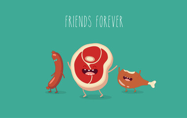 Funny sausage, steak and chicken leg. Friend forever. Vector illustrations.