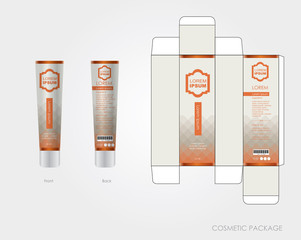 Orange cosmetic package design include box and bottle