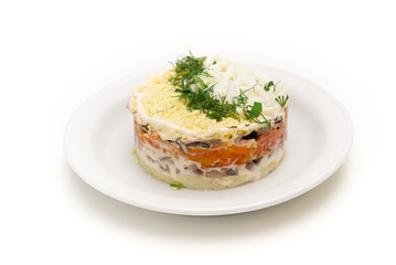 layered salad of herring, boiled vegetables and eggs
