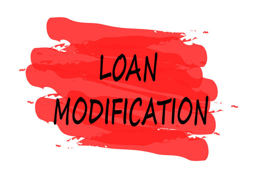 loan modification red banner on white background