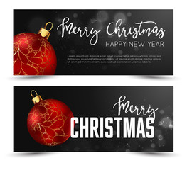Christmas web banners set with red and gold ball  sparcle blurred background.