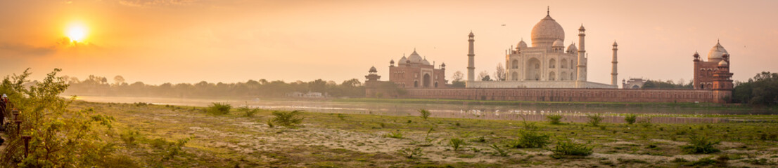 Panoramic view of Taj Mahal on a beautiful morning