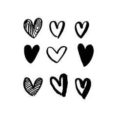 Hearts hand drawn vector art icons for Valentine day