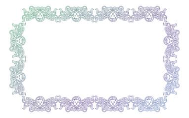 Gradient frame with angel in vintage style. Custom element for design artworks. Raster clip art.