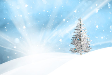 Winter snowy landscape with sun beams and with lovely snowy Christmas tree decoration background.