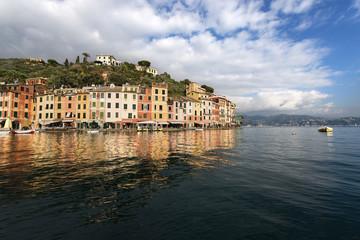 Portofino village with the port and colorful houses. Genova, Liguria, Italy