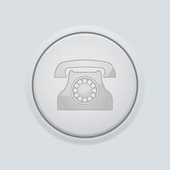 Fototapeta Round button with telephone sign. On gray interface background