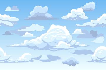 Vector cartoon blue cloudy sky horizontal seamless pattern