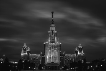 Moscow, Russia. Lomonosov Moscow State University at night