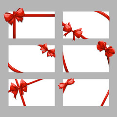 Wall Mural - Gift cards with bows vector set