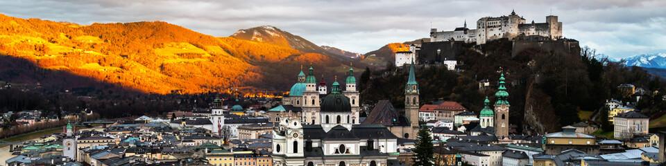 Aerial view of Salzburg, Austria at sunset